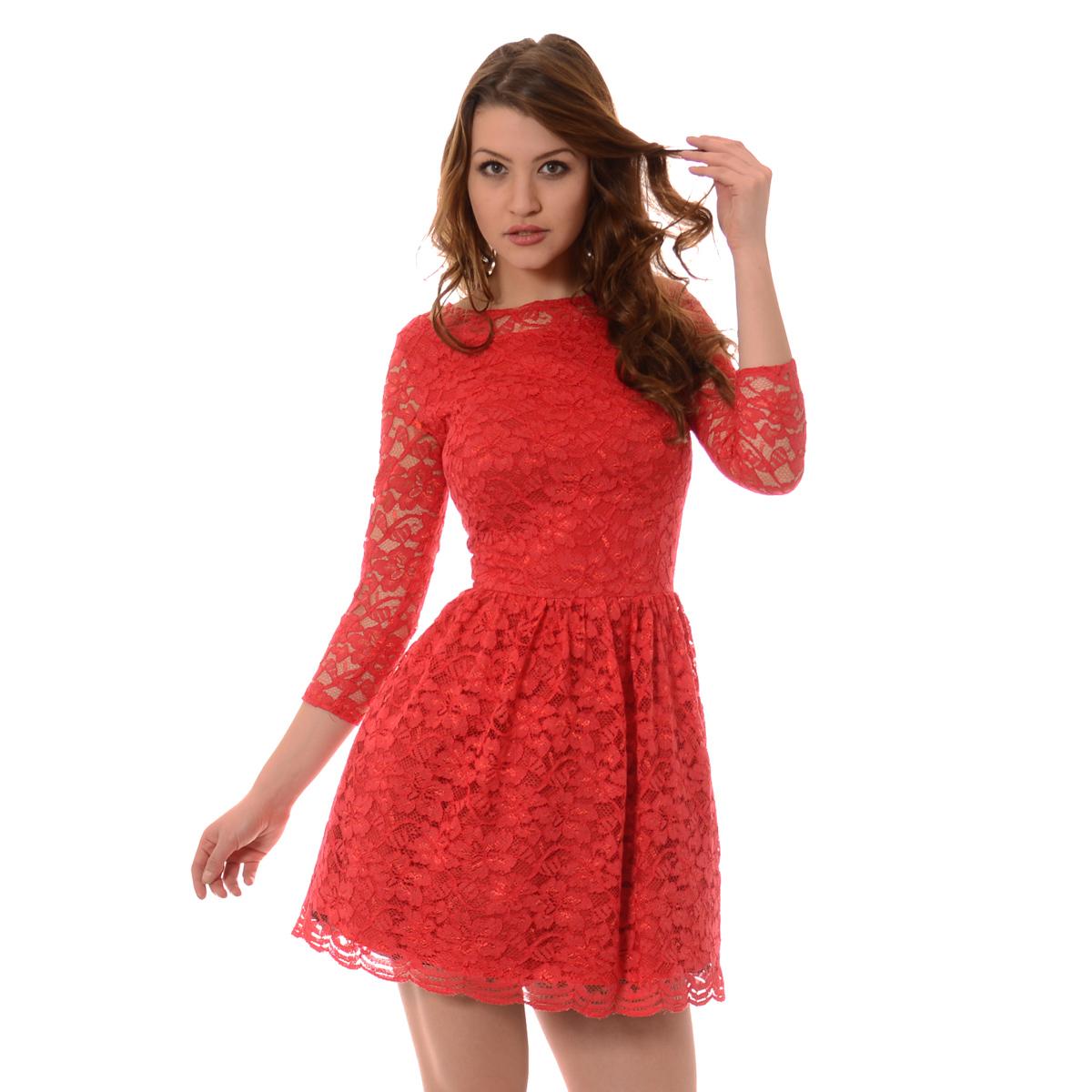 861d1260b2 Rozkloszowana Sukienka Koronkowa Norbi Czerwona  Rozkloszowana Sukienka  Koronkowa Norbi Czerwona ...