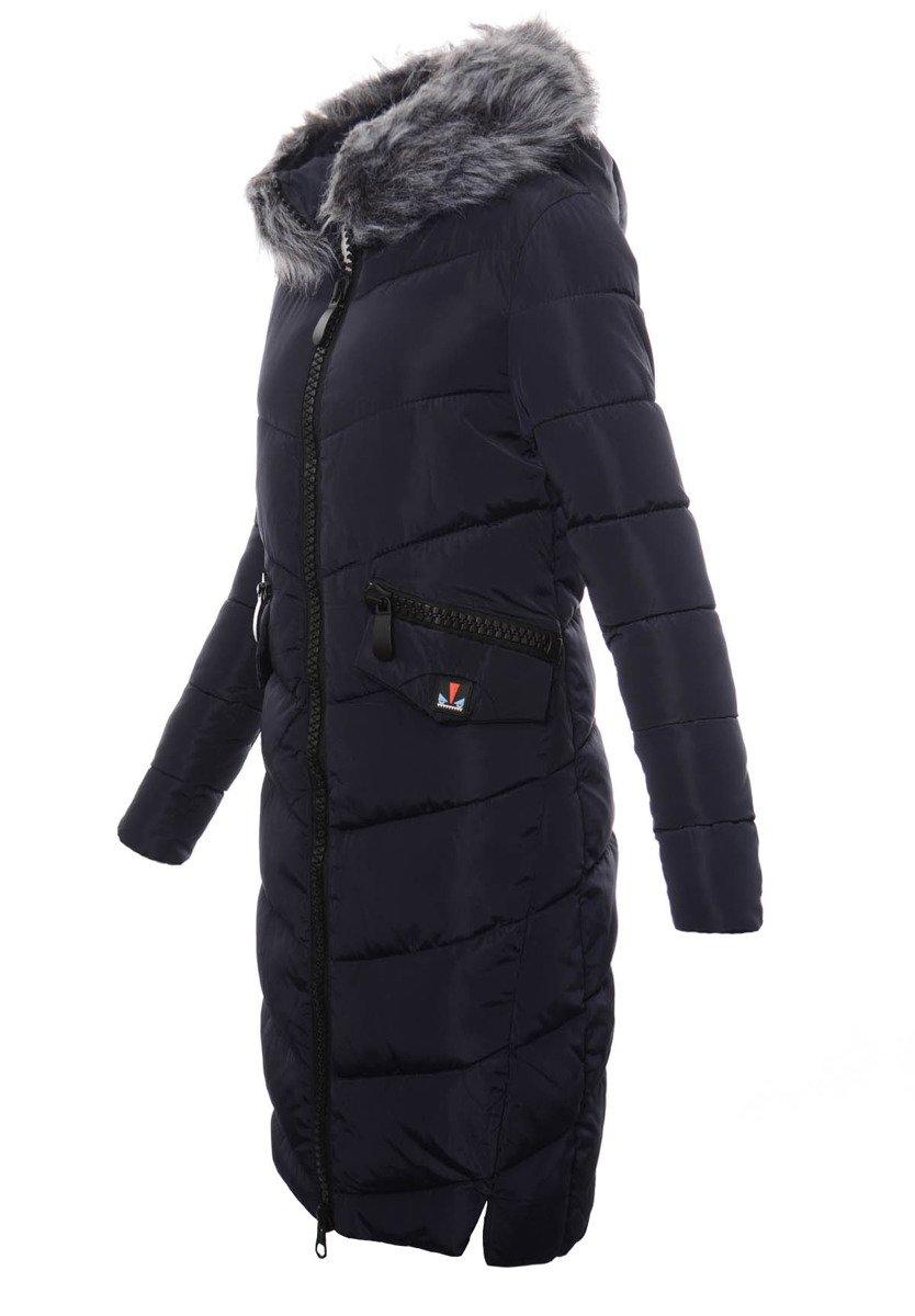 damska długa zimowa kurtka ortalionowa marta granatowa