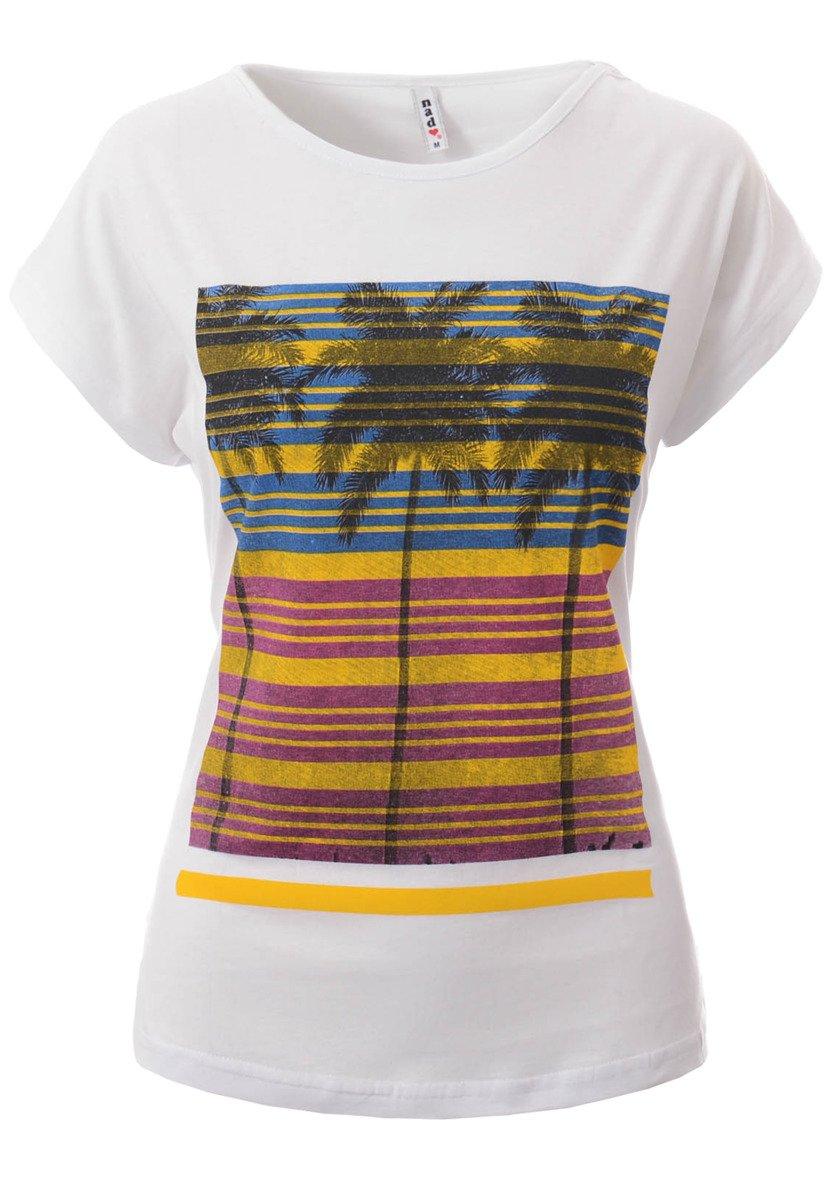 d3fd6dc48 Damska Koszulka Krótki Rękaw T-Shirt Nadruk Palmy Biała Biały ...