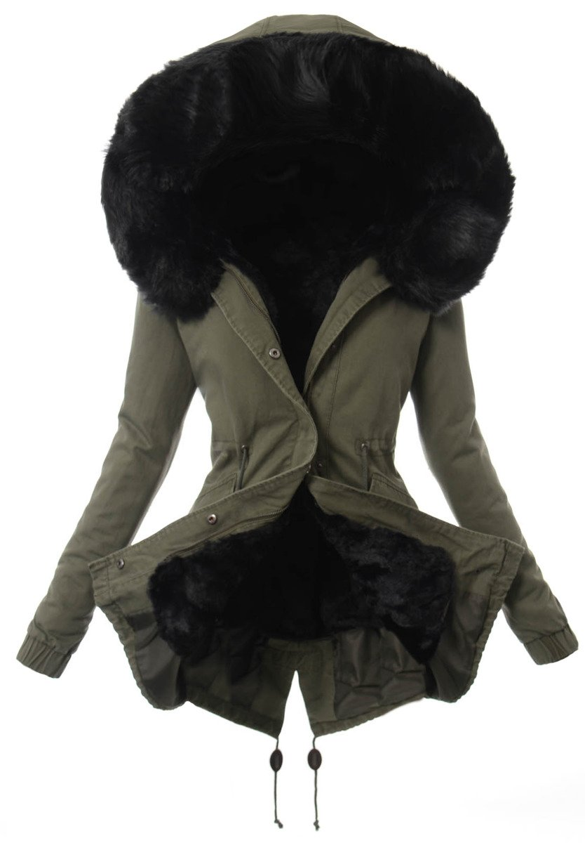 kurtka parka zimowa damska z odpinanym futerkiem