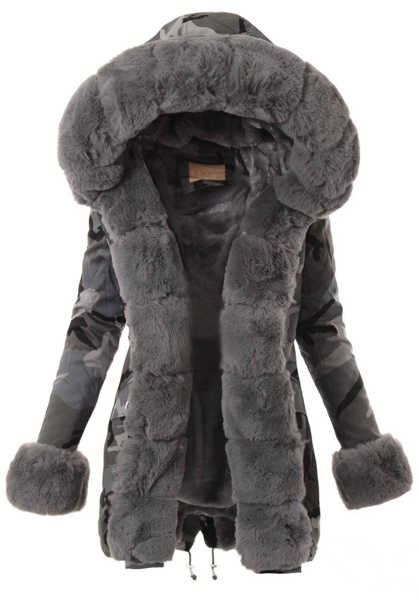 kurtka zimowa damska z futrem moro szary