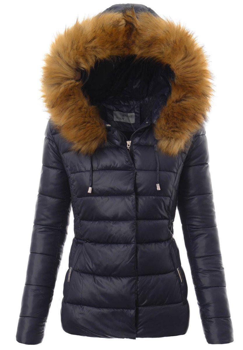 ortalionowa kurtka zimowa granatowa z futerkiem