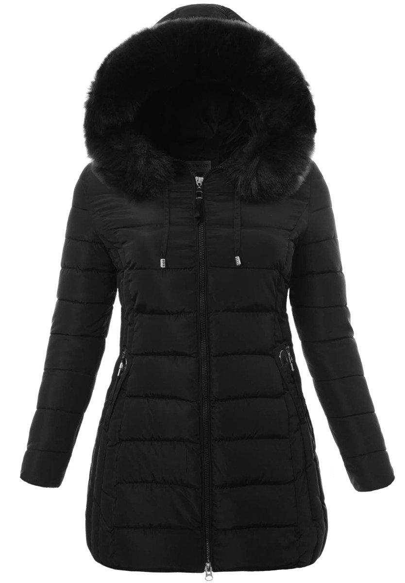 kurtka zimowa damska czarna z kołnierzem