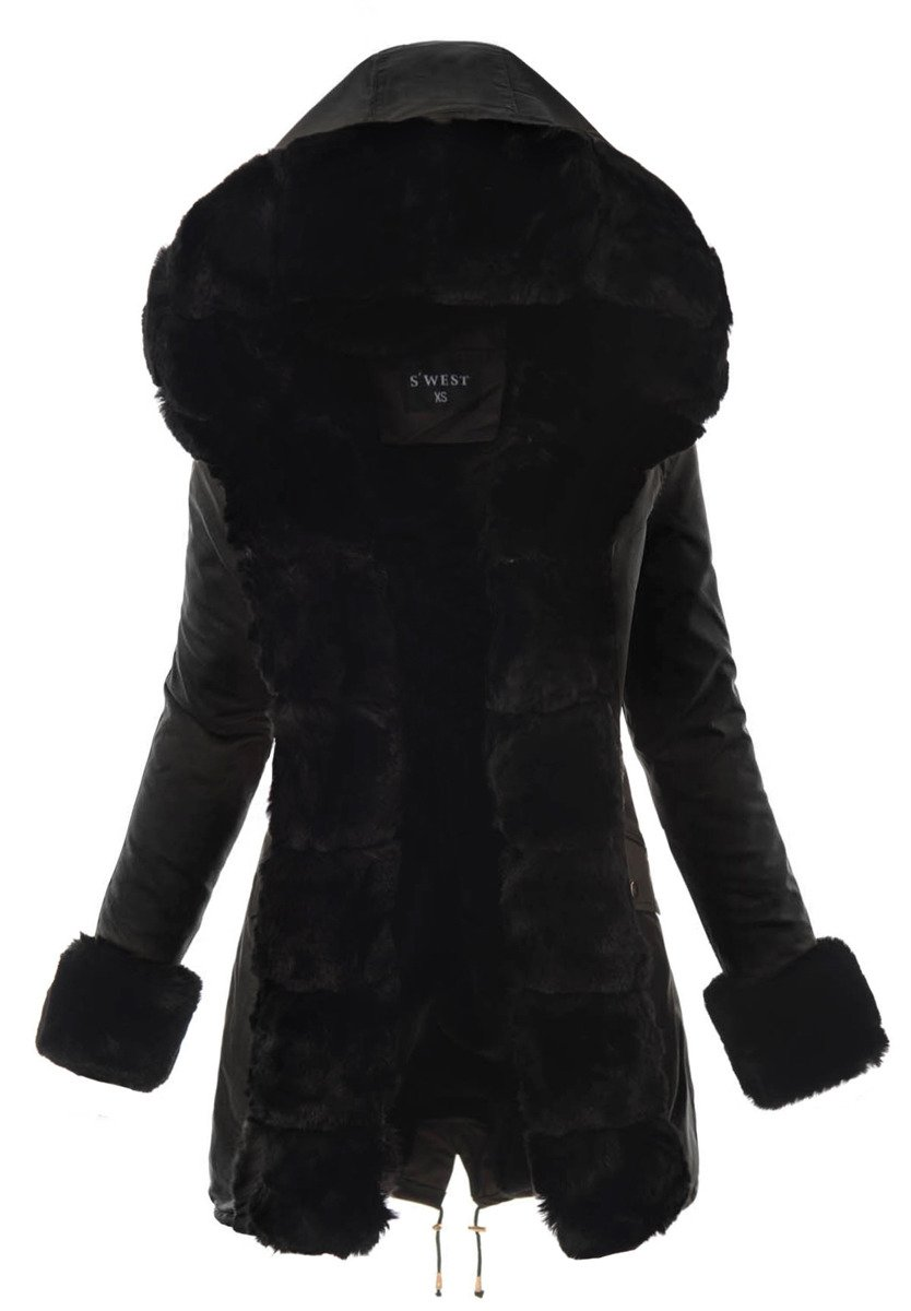 elegancka damska czarna kurtka zimowa