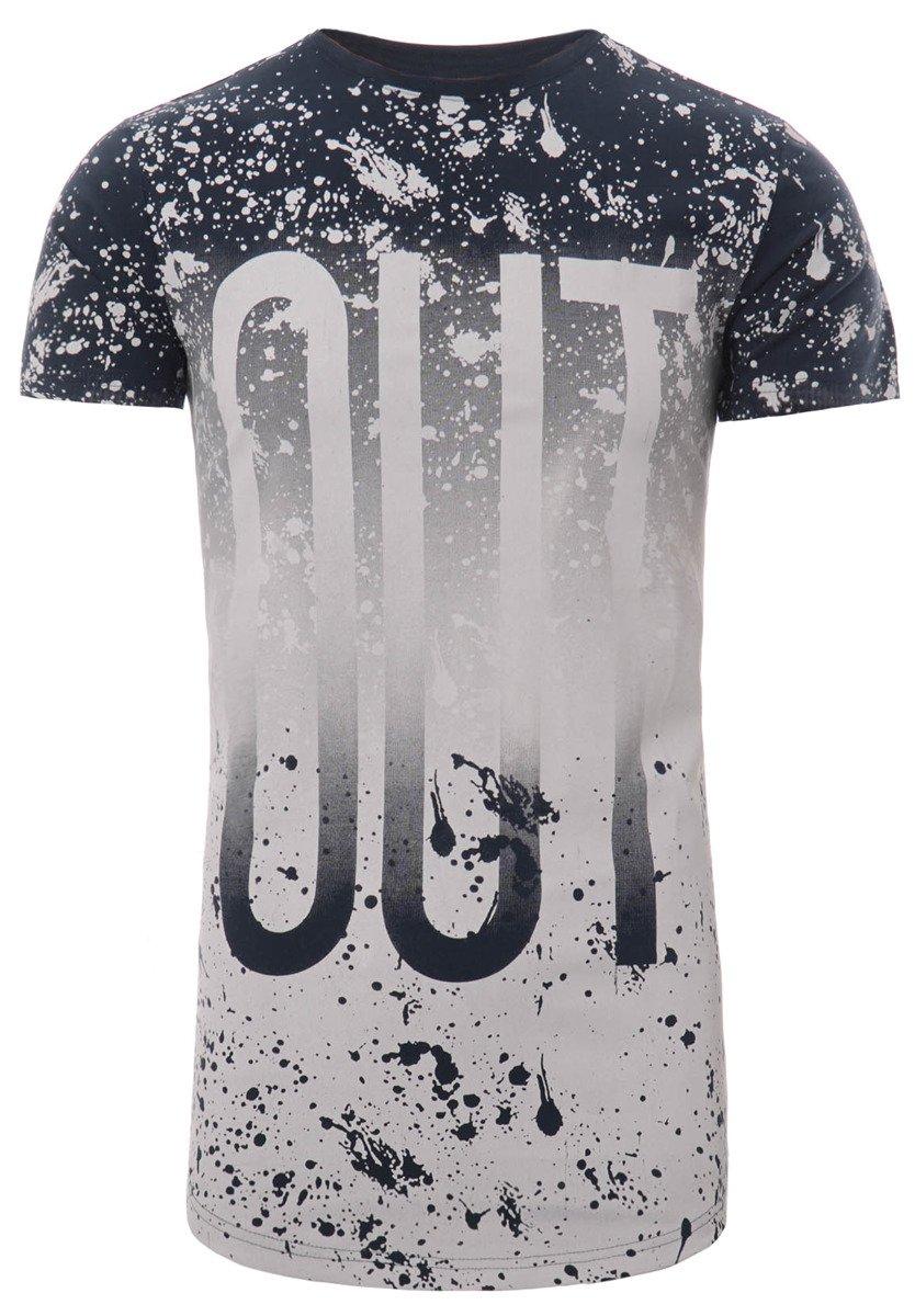 de025708e Męska Koszulka T-Shirt Nadruk OUT Granatowa Granatowy - Brendi.pl