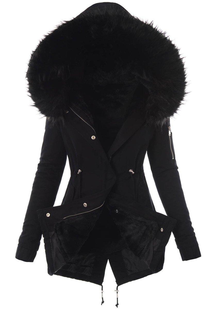 kurtka z kapturem futerkiem damska zimowa