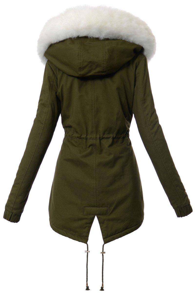 kurtka parka damska zielona i jasne spodnie