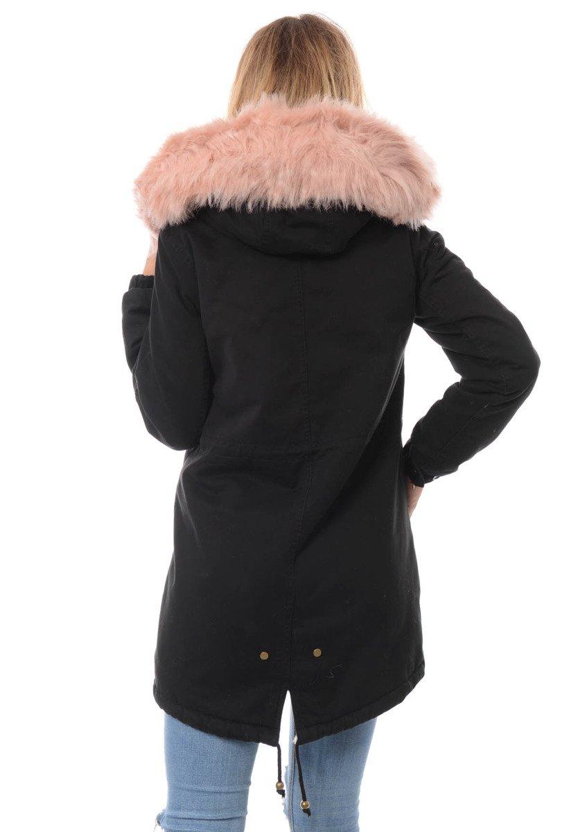piękna damska kurtka parka iwet czarna z czarnym futerkiem