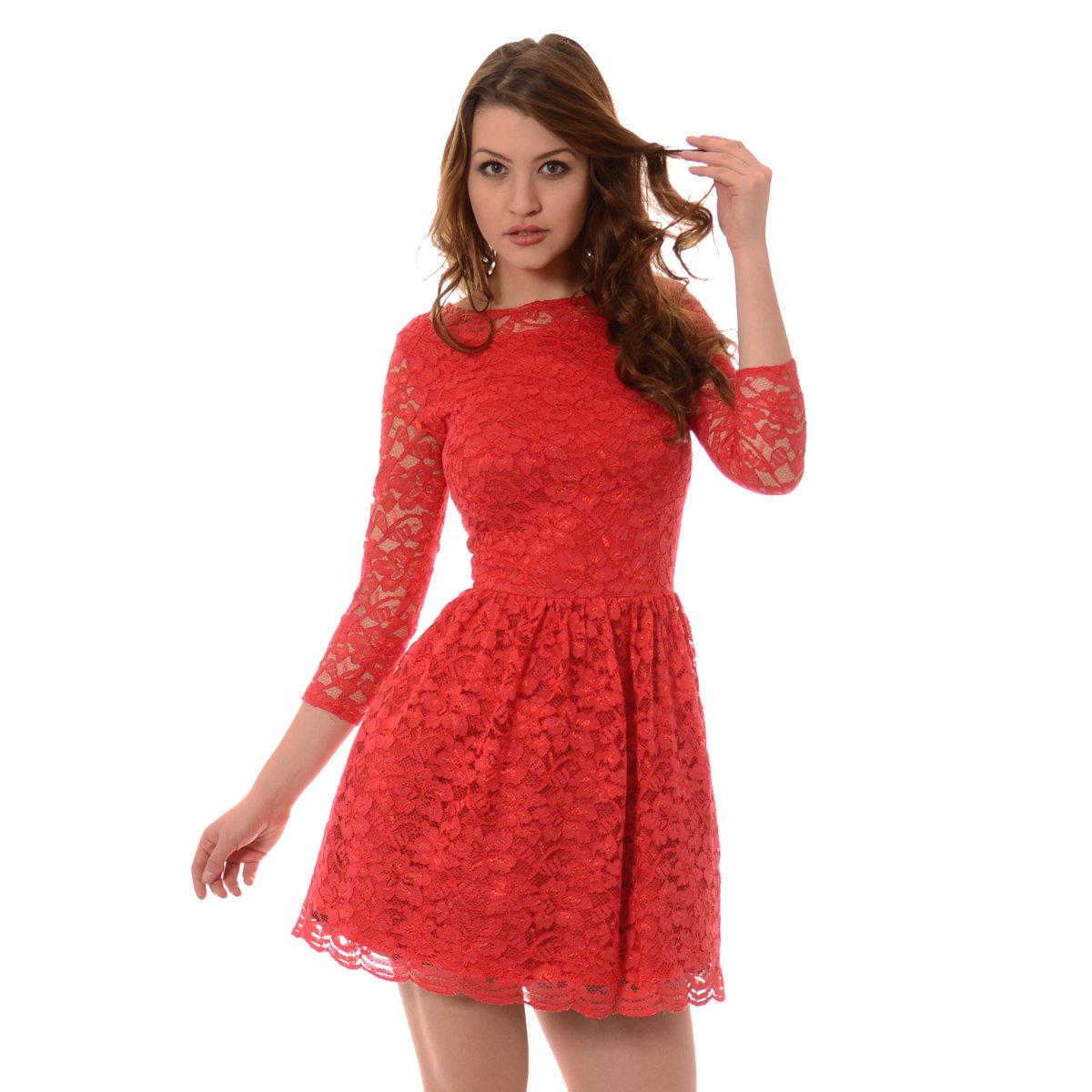 a5ac5004 Rozkloszowana Sukienka Koronkowa Norbi Czerwona Czerwony - Brendi.pl