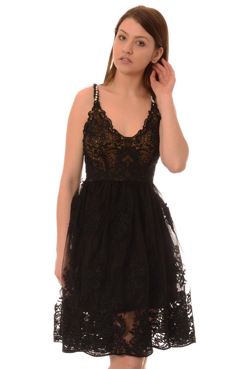 8c6b5255e2 Fantastyczny Sukienka Koronkowa Rozkloszowana Na Ramiączka Czarna Czarny  DF-79