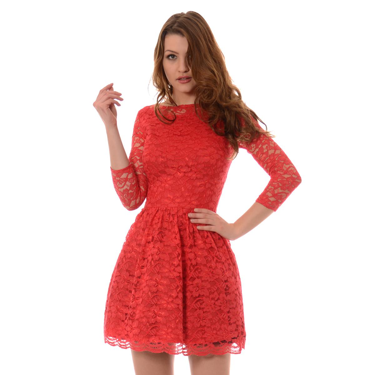 16d052e459 Rozkloszowana Sukienka Koronkowa Norbi Czerwona Czerwony - Brendi.pl