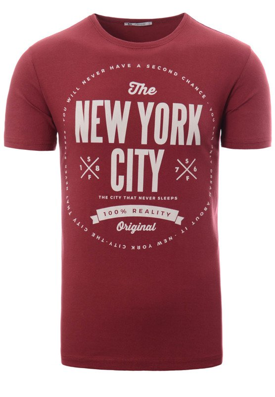 Męska Koszulka T-Shirt Nadruk New York City Bordowa