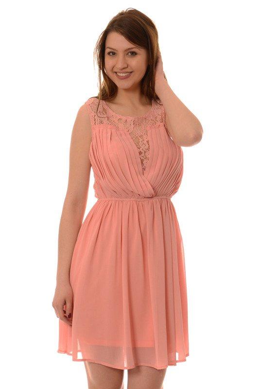 a8c1be561 Sukienka Rozkloszowana Ethien Morelowa Różowy - Brendi.pl
